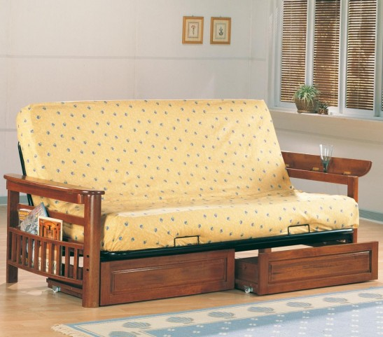 Wood Arm Futon With Storage